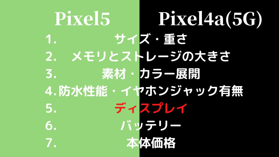 Pixel5とPixel4a(5G)のディスプレイ